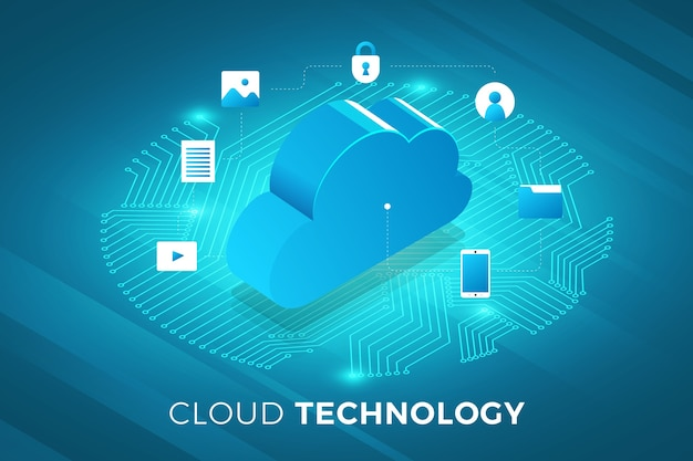 Izometryczne ilustracje projekt koncepcyjny rozwiązanie technologiczne na wierzchu z usługą w chmurze