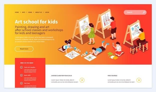 Izometryczne ilustracji szablonu strony internetowej szkoły artystycznej dla dzieci