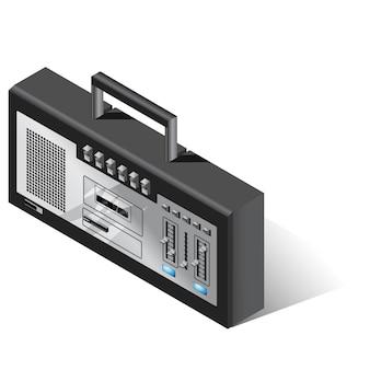 Izometryczne ilustracji wektorowych odtwarzacza muzyki retro stereo