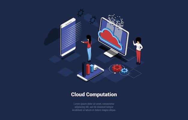 Izometryczne ilustracji wektorowych z pisania. kompozycja koncepcyjna w stylu cartoon 3d. pomysły na obliczenia w chmurze, przechowywanie dodatkowych plików online i offline, usługi tworzenia kopii zapasowych baz danych w internecie.