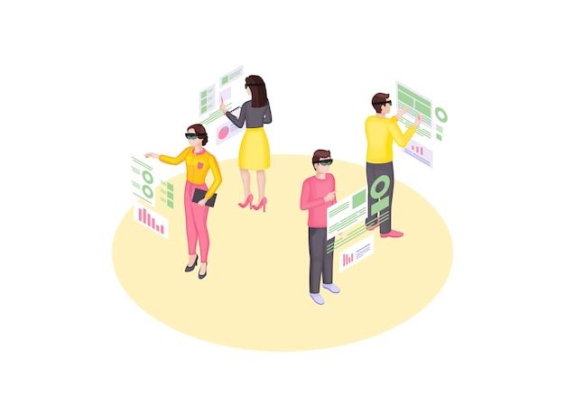Izometryczne ilustracji wywiadu gospodarczego