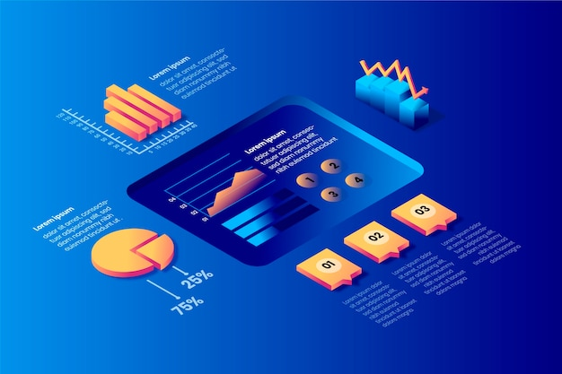 Izometryczne infographic koncepcja z procesem