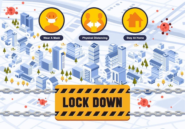 Izometryczne informacje o plakacie o mieście, które zostało zablokowane z powodu rozprzestrzeniania się wirusa infekcji na całym świecie i jak temu zapobiec