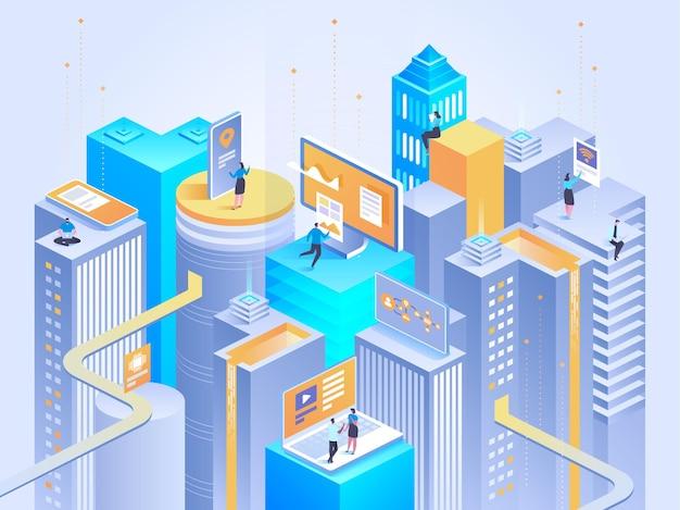 Izometryczne inteligentne miasto. inteligentne budynki. ulice miasta podłączone do sieci komputerowej. koncepcja internetu rzeczy. centrum biznesowe z drapaczami chmur.