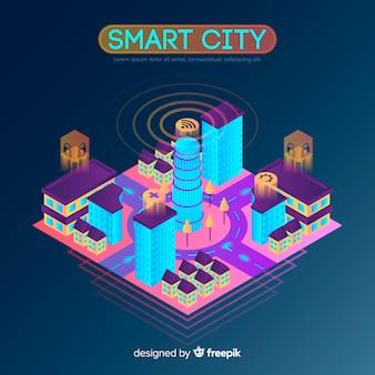 Izometryczne inteligentne miasto tło