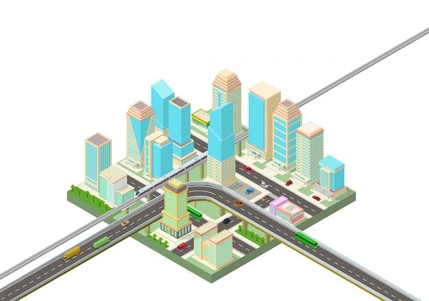 Izometryczne inteligentne miasto z drapaczami chmur, autostradą i transportem