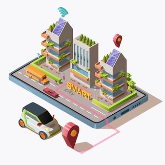 Izometryczne inteligentne miasto z samochodem, drogą, ludźmi, zielonymi ekologicznymi nowoczesnymi budynkami i transportem na smartfonie. centrum biznesowe z panelami słonecznymi na dachu, ilustracja.