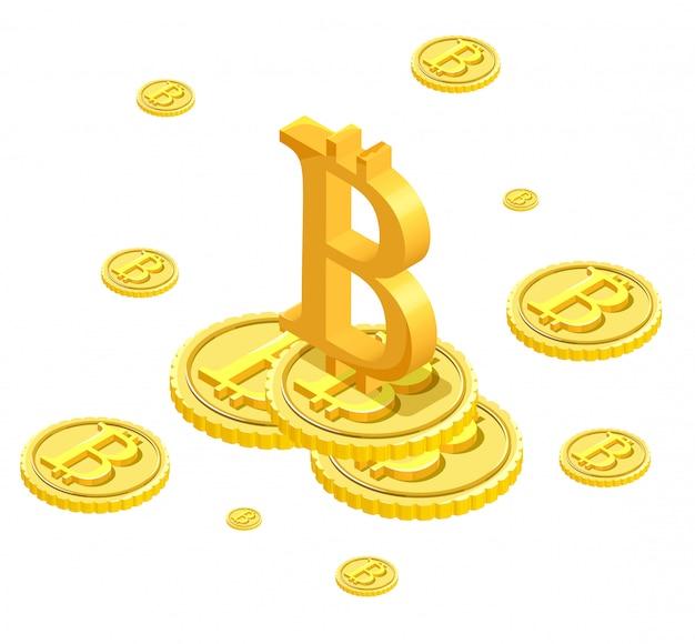 Izometryczne izolowane ikony bitcoin