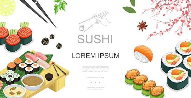 Izometryczne japońskie jedzenie kolorowy szablon z sushi sashimi rolki sosy przyprawy plasterek limonki pałeczki sakura gałąź ilustracja