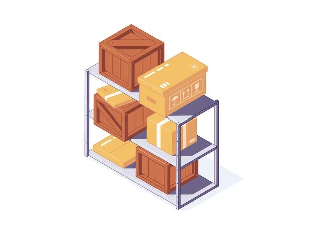 Izometryczne kartonowe i drewniane pudełka na stojaku magazynowym dla koncepcji dostawy i przechowywania. różne brązowe pudełka i paczki leżące na półce. kontenery do transportu i wysyłki.