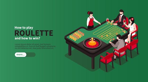 Izometryczne kasyno z widokiem na stół do gry z ilustracjami postaci graczy i bankierów