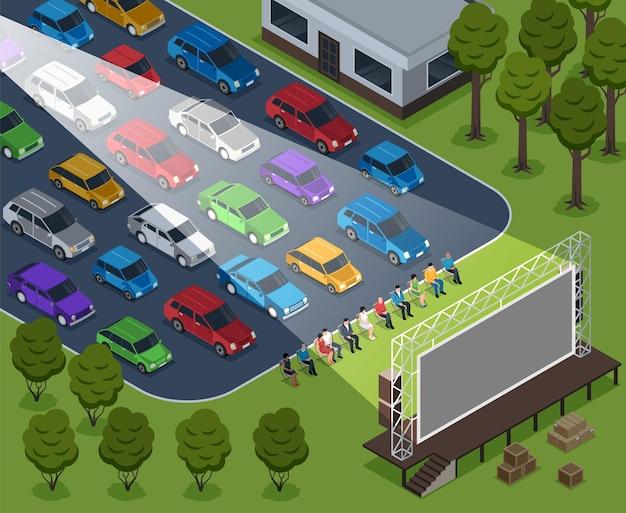 Izometryczne kino plenerowa kompozycja z plenerowymi sceneriami rzędów samochodów i siedzącymi ludźmi z ilustracją na ekranie