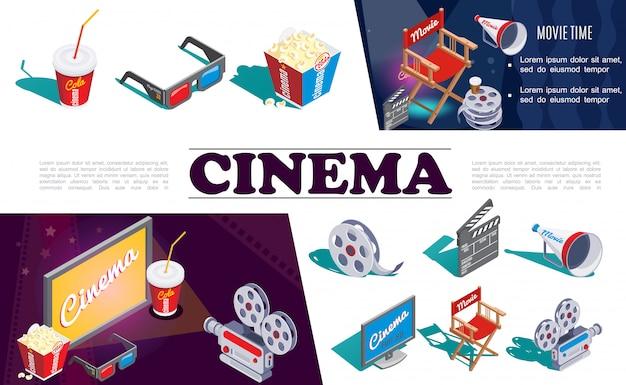 Izometryczne kino skład elementów z aparatem okulary 3d popcorn soda rolka filmowa krzesło reżysera megafon ekran klapsa