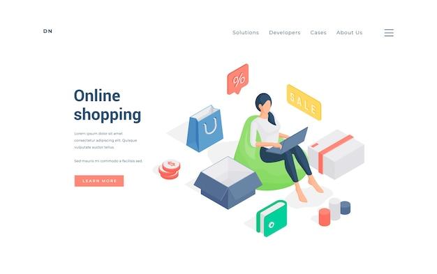 Izometryczne kobieta siedzi na worek fasoli i robi zakupy na laptopie