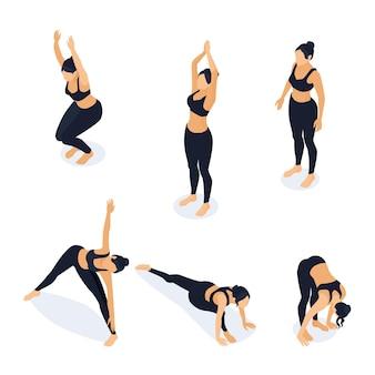 Izometryczne kobieta w pozycjach jogi na białym tle. ilustracja lekkoatletka rozciąganie, trening w siłowni. pozycja krzesła, pozycja trójkąta, fałd, pozycja stojąca, pozycja górska