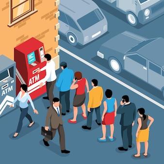 Izometryczne kolejki ludzi stojących w kolejce w pobliżu bankomatu na zewnątrz