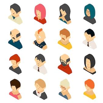 Izometryczne kolorowe ikony użytkownika na białym tle. mężczyźni i kobiety, chłopcy i dziewczęta w 3d