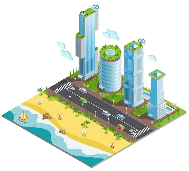 Izometryczne kolorowe kompozycja futurystyczne wieżowce z kawałkiem oceanu i piaszczystej plaży