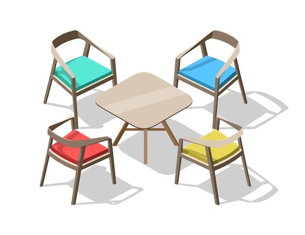 Izometryczne kolorowe krzesła biurowe i stół