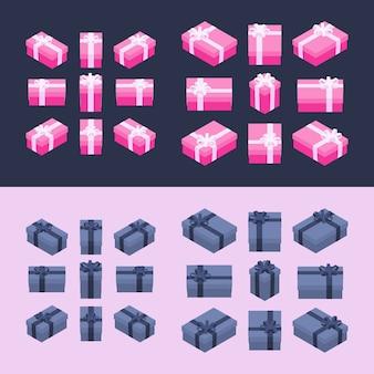 Izometryczne kolorowe pudełka na prezenty