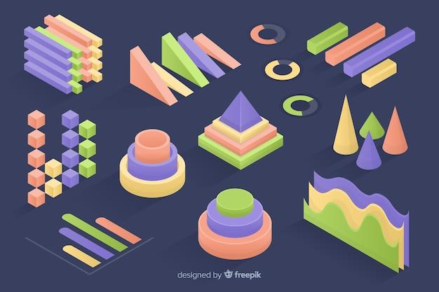 Izometryczne kolorowe statystyki szablon kolekcja