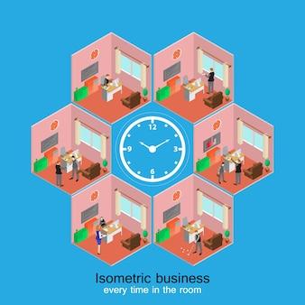 Izometryczne komórki wnętrza pomieszczeń biurowych