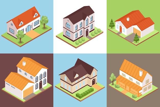 Izometryczne kompozycje domów prywatnych z różnymi rozmiarami i stylami budynków