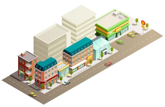 Izometryczne koncepcja budynków sklepowych