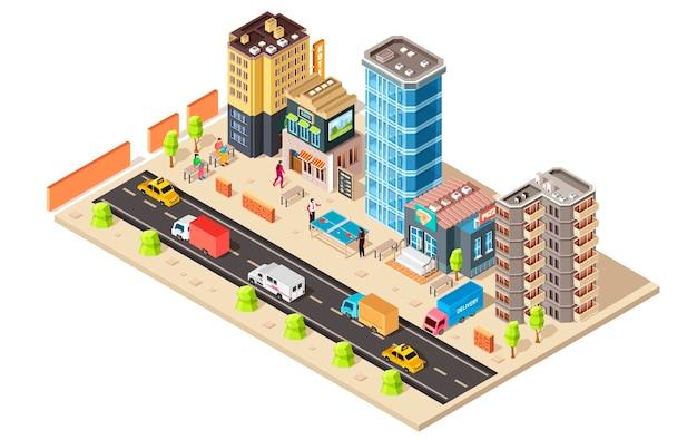 Izometryczne koncepcja miasta na białym tle