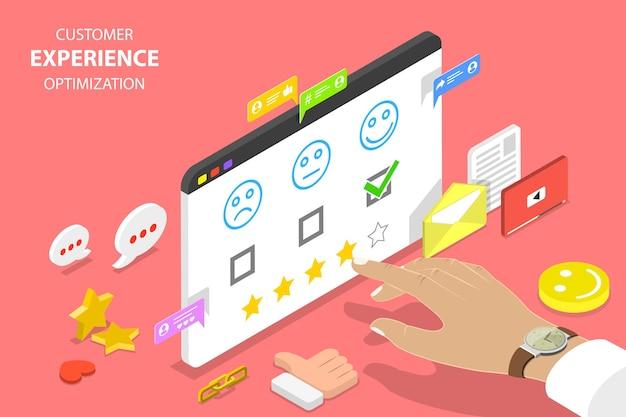 Izometryczne koncepcja płaskiego wektora optymalizacji doświadczenia klienta