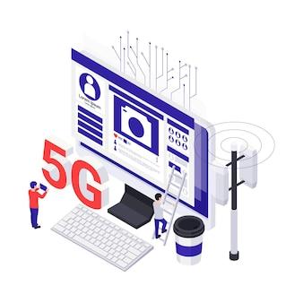 Izometryczne koncepcja technologii internetowej 5g z komputerową wieżą telekomunikacyjną na białym tle ilustracji wektorowych 3d