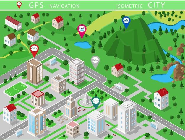 Izometryczne krajobrazy z budynkami miejskimi, wioskami, drogami, parkami, równinami, wzgórzami, górami, jeziorami, rzekami i wodospadem. zestaw szczegółowych budynków miejskich. mapa izometryczna 3d z nawigacją gps