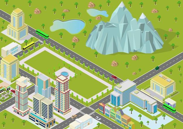 Izometryczne krajobrazy z zabudowaniami miasta i górami