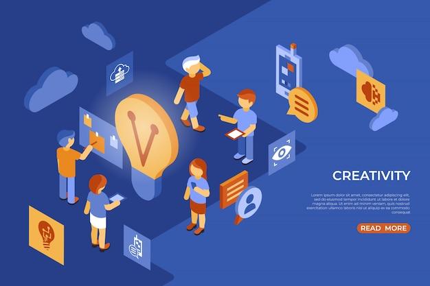 Izometryczne kreatywność ludzi biznesu infografiki