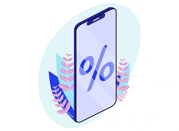 Izometryczne kreskówka telefon komórkowy ze znakiem procentu