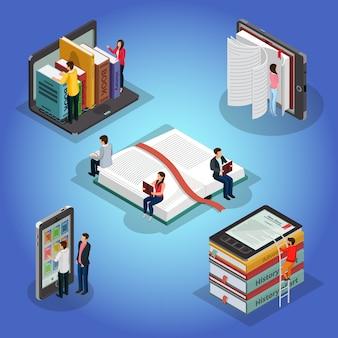 Izometryczne książki czytające kompozycję z ludźmi i czytnikiem ebooków literatury edukacyjnej biblioteka elektroniczna na laptopie telefonu na białym tle