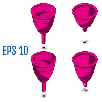 Izometryczne kubki menstruacyjne. różne silikonowe kubki menstruacyjne.