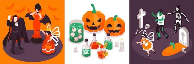 Izometryczne kwadratowe kompozycje z halloweenowej imprezy, przedstawiające funky postaci w kostiumach z dyniami eliksirów