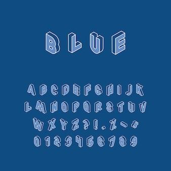 Izometryczne litery, cyfry i znaki w dwóch różnych kierunkach z białym cienkim konturem na modnym klasycznym niebieskim tle. alfabet vintage w modnych kolorach, łatwy do edycji i dostosowywania