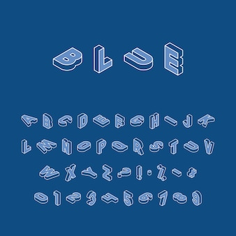 Izometryczne litery, cyfry i znaki w różnych kierunkach z białym cienkim konturem na klasycznym niebieskim