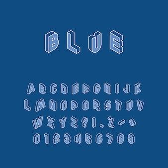 Izometryczne litery, cyfry i znaki w różnych kierunkach z białym cienkim konturem na modnym klasycznym niebieskim tle. alfabet vintage w modnych kolorach, łatwy do edycji i dostosowywania.