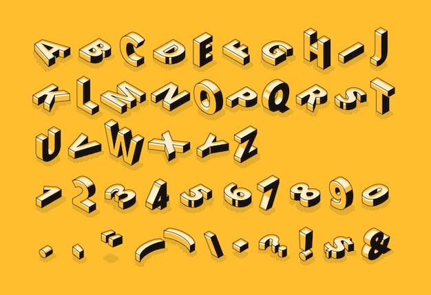 Izometryczne litery półtonów czcionka ilustracja cienka linia kreskówka streszczenie alfabet typografii