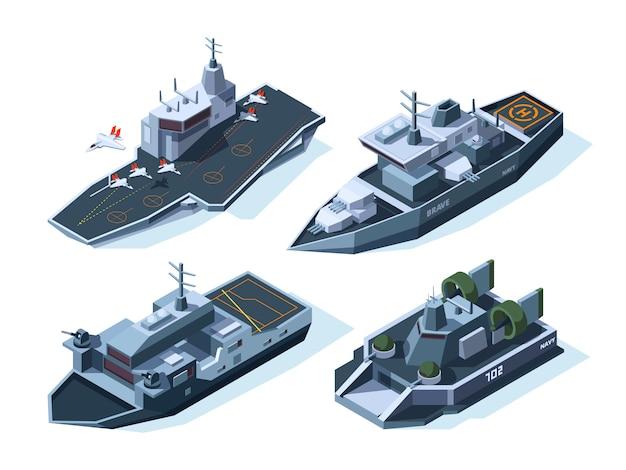 Izometryczne łodzie wojskowe