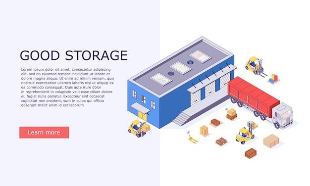 Izometryczne logistyczne pudełka z inwentarzami i ilustracja transparentu ciężarówek