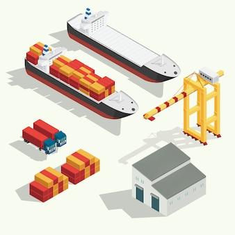 Izometryczne logistyki ładunku i transport kontenerowiec z dźwigiem importu eksport branży transportu zestaw ikon. wektor ilustracji