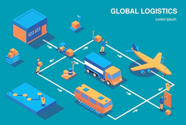 Izometryczne logistyki skład poziomy schemat blokowy z widokiem ludzkich postaci i różnych pojazdów związanych z ilustracji wektorowych strzałki
