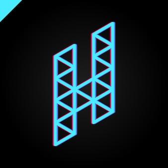 Izometryczne logo litery h.