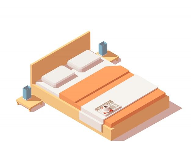 Izometryczne łóżko z materacem, poduszkami, wysokim oparciem i stolikami nocnymi.