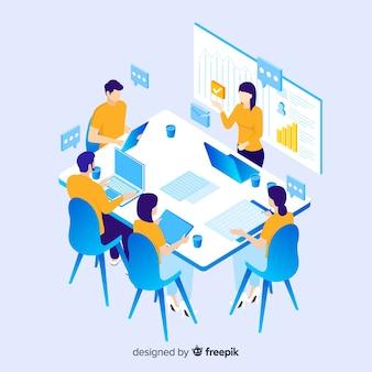 Izometryczne ludzi biznesu w spotkaniu
