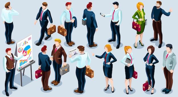 Izometryczne ludzi modny biznes 3d zestaw ilustracji